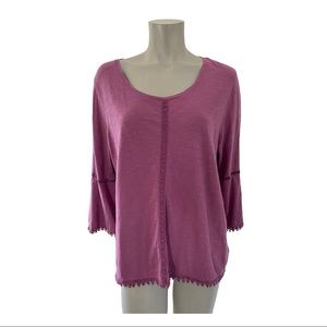 Style & Co Purple Flare Sleeve Top Size Large